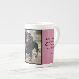 Winnie o daschund xícara de chá