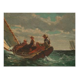Winslow Homer - Breezing acima de (um vento justo) Impressão De Foto
