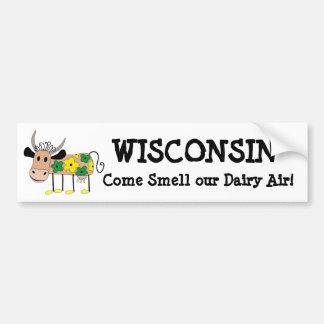 Wisconsin, cheira nossa camisa da vaca do humor do adesivo de para-choque
