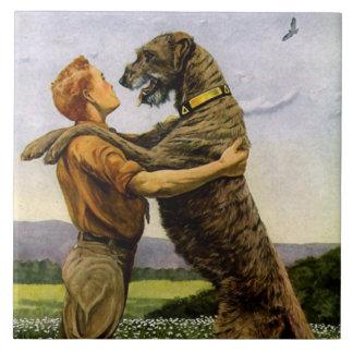 Wolfhound irlandês azulejo quadrado grande