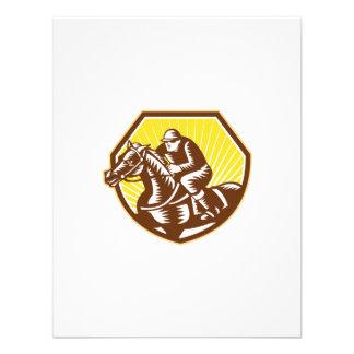 Woodcut da corrida de cavalos do puro-sangue retro convites personalizado