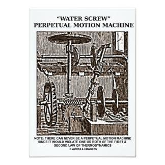 Woodcut da máquina do movimento perpétuo do convite 12.7 x 17.78cm