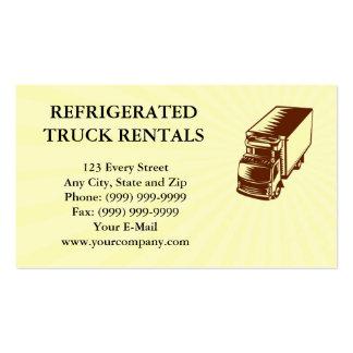 Woodcut Refrigerated cartão de visita do caminhão