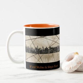 World Skyline Caneca De Café Em Dois Tons