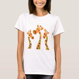 WW- girafa e desenhos animados primitivos da arte Camiseta