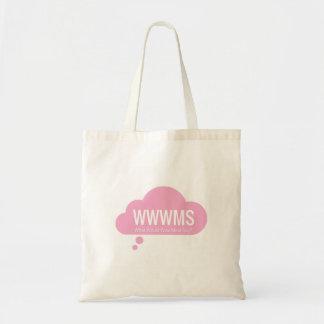 WWWMS? Slogan cor-de-rosa da nuvem DBT do Bolsa Tote
