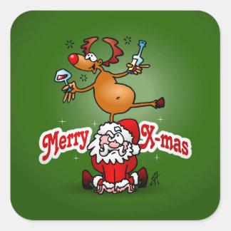 X-mas da feliz de Papai Noel e de sua rena Adesivo Quadrado