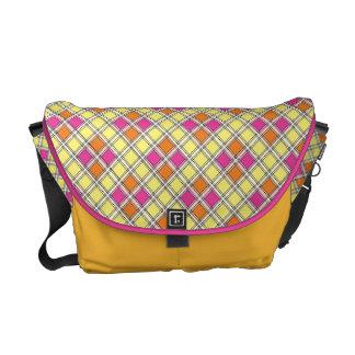 Xadrez amarela da bolsa mensageiro & cor-de-rosa b