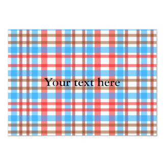 Xadrez azul vermelha branca marrom retro convite 12.7 x 17.78cm