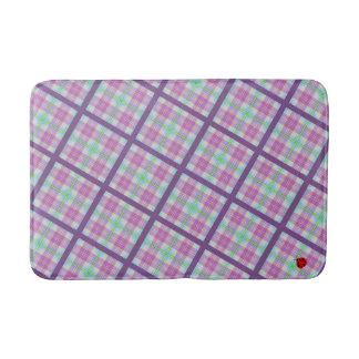Xadrez cor-de-rosa e roxa com uma senhora tapete de banheiro