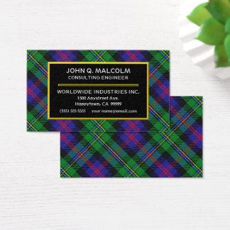 Xadrez de Tartan escocesa de Malcolm do clã Cartão De Visitas