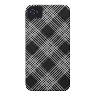 xadrez de tartan preto e branco capas para iPhone 4 Case-Mate