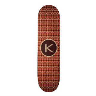 Xadrez do gótico & crânios w/Monogram Shape De Skate 18,1cm