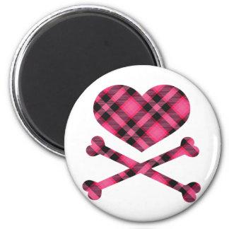 xadrez do preto do coração e do rosa dos ossos da  ímã redondo 5.08cm