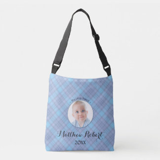 Xadrez pequena do azul do príncipe bebé bolsa ajustável