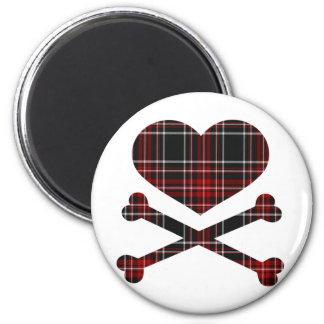 xadrez preta vermelha dos ossos do coração e da cr ímã redondo 5.08cm