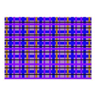 Xadrez roxa e marrom azul moderna convites