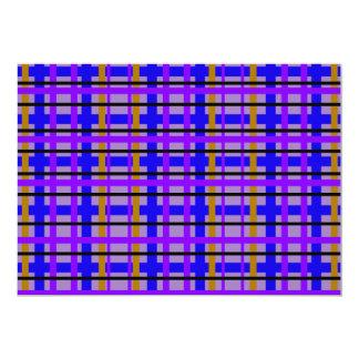 Xadrez roxa e marrom azul moderna convite 12.7 x 17.78cm