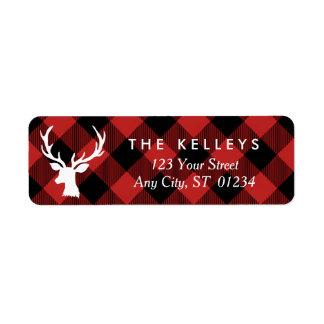 Xadrez vermelha do búfalo com endereço do feriado etiqueta endereço de retorno