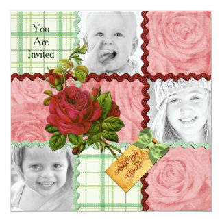 Xadrez vermelha do verde do rosa do rosa do bloco convite quadrado 13.35 x 13.35cm