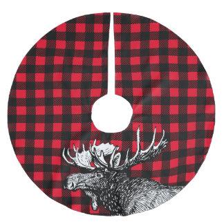 Xadrez vermelha e preta dos alces rústicos da saia para árvore de natal de poliéster
