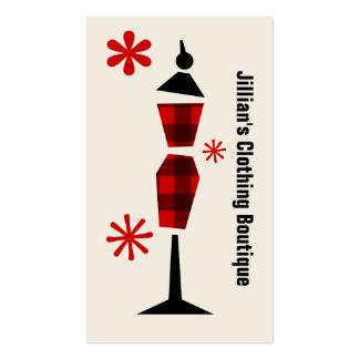 Xadrez vermelha preta do boutique da loja de rou cartoes de visitas
