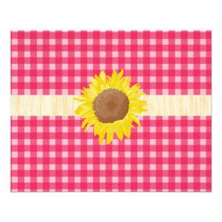 Xadrezes e sunflowers clássicos do rosa do país panfletos personalizados