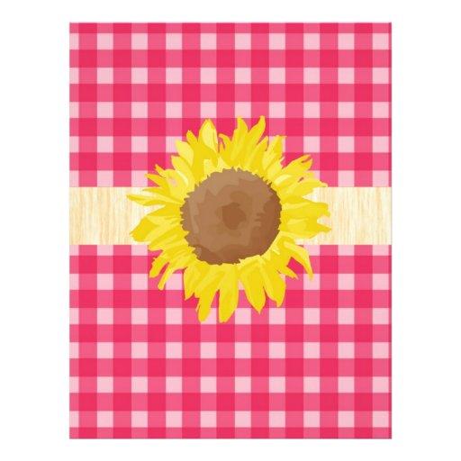 Xadrezes e sunflowers. clássicos do rosa do país panfletos personalizado