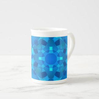 Xícara De Chá Arte de néon azul do prego do mosaico
