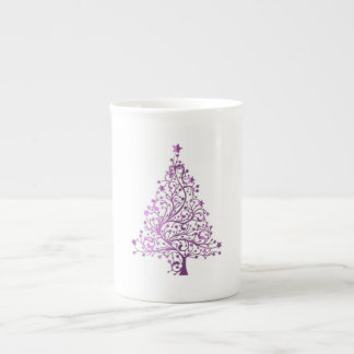 Xícara De Chá Árvore de Natal cor-de-rosa decorativa estrelado
