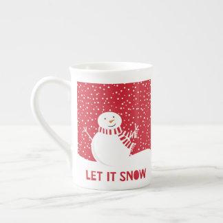 Xícara De Chá boneco de neve vermelho e branco contemporâneo