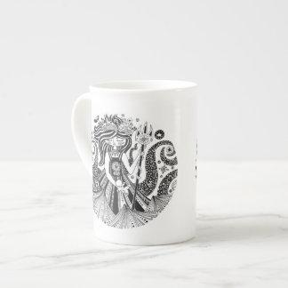 Xícara De Chá Bruxa do mar do pão-de-espécie de China de osso