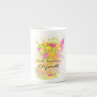 Xícara De Chá Buquê da flor da aguarela do aniversário