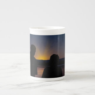 Xícara De Chá Casal no por do sol, no osso China