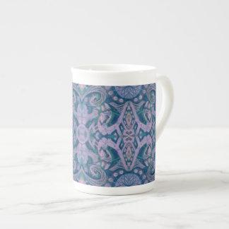 Xícara De Chá Curvas & Lotuses, lavanda abstrata do teste padrão
