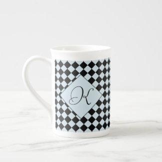 Xícara De Chá Diamante do Harlequin do preto do cinza azul