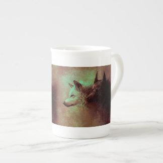 Xícara De Chá dois lobos - lobo da pintura