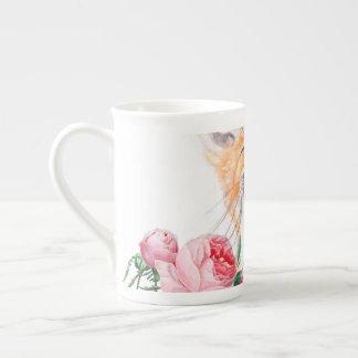 Xícara De Chá Foxy feliz e rosas