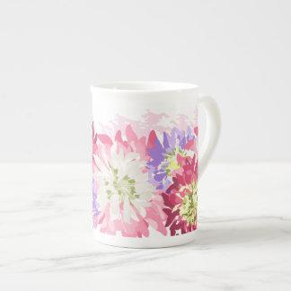Xícara De Chá O jardim bonito floresce o efeito da aguarela