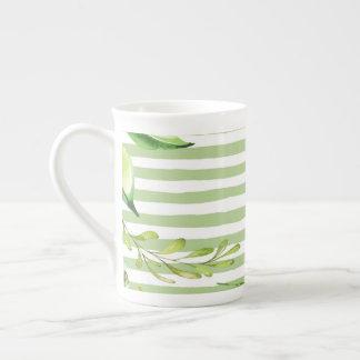Xícara De Chá O verde corajoso da arte da aguarela listra o
