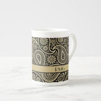 Xícara De Chá Ouro Monogrammed Paisley no preto & na fita do