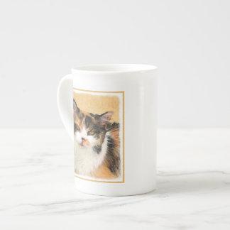 Xícara De Chá Pintura do gato de chita - arte original bonito do