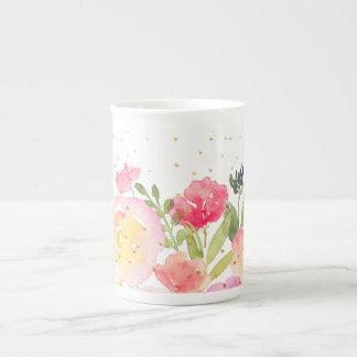Xícara De Chá PixDezines floral/buquê da aguarela/primavera