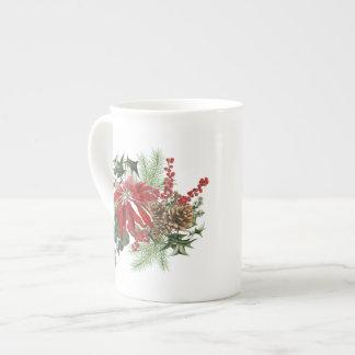 Xícara De Chá poinsétia moderna do feriado do vintage floral