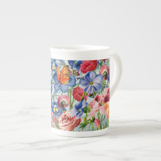 Xícara De Chá Prado da flor - aguarela floral do vintage