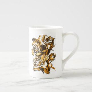 Xícara De Chá Rosas, arte floral gráfica, flores cor-de-rosa de