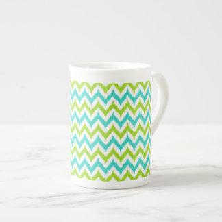Xícara De Chá Teste padrão branco, verde e de turquesa do