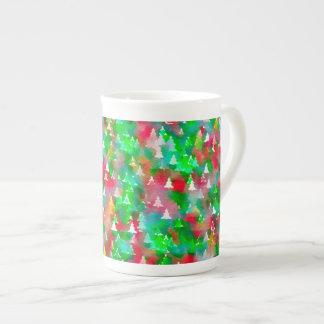 Xícara De Chá Teste padrão da aguarela da árvore de Natal