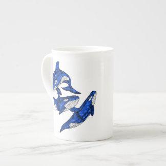 Xícara De Chá Vagem de 3 orcas tribais