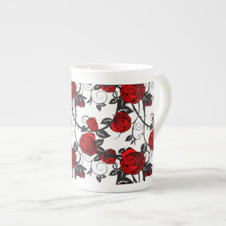 Xícara De Chá Videira Caneca-Vermelha do rosa de China de osso